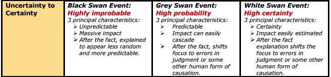 Black Swan, Grey Swan, White Swan (Definition)