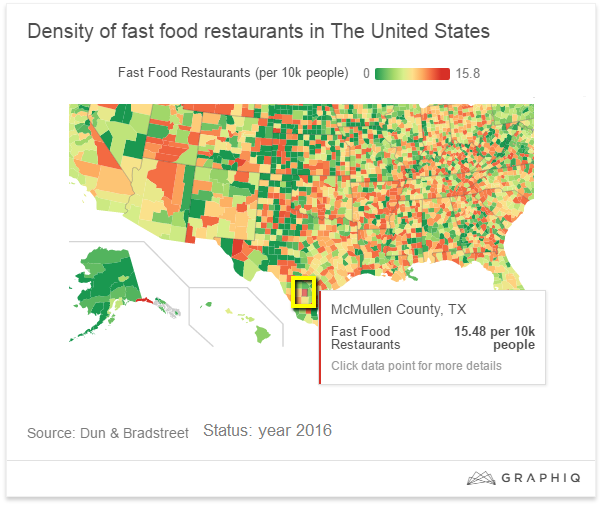 Density of fast food restaurants in the U.S.A. (year 2016)